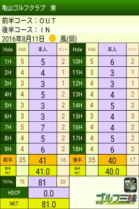 亀山ナイターゴルフ スコア